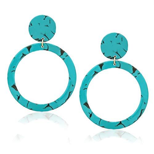 MOLOCH Acrylic for Women Geometry Resin Drop Dangle Earrings Bohemia Tortoise Shell Hoop Earrings Mottled Statement Stud Earrings Fashion Jewelry (H-Green) ()
