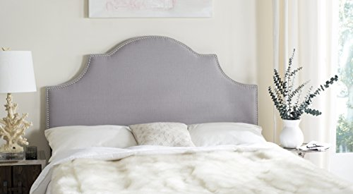 Safavieh Hallmar Arctic Grey Upholstered Arched Headboard - Silver Nailhead (Queen) Room Accent Custom Upholstered Furniture