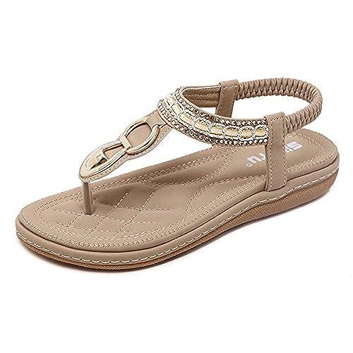 910a5427e3a Maybest Women Sandwich Sandals Rhinestone Clip Toe Beach Shoes Elastic  T-Strap Bohemia Flat Slippers