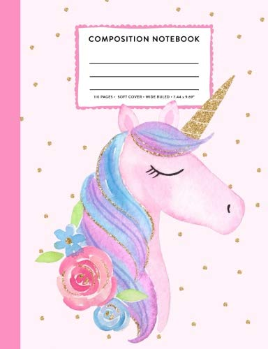 (Composition Notebook: Unicorn Blush Pink and Gold Cute Rainbow Wide Ruled Primary Copy Book, SOFT Cover Girls Kids Elementary School Supplies Student Teacher Daily Creative Writing Journal, 110 Pages)