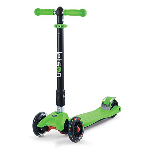 Jetson Twin 4-Wheel Folding Kick Scooter for Toddler and Kids - Unique Dual Rear Wheel Adds Stability - Rolling Wheels Light Up with Colorful LEDS - Easy Assembly, (Green)