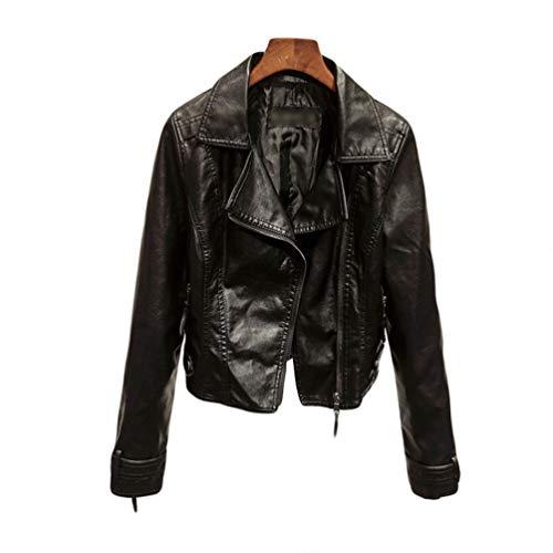Court Slim Tianbin Cuir Longues Faux Elégant Manteau Fit Jacket Femme Veste 2 Blousons Manches En Noir Pu H4XPXqr