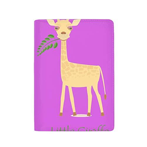 (KOiomho Leather Passport Cover Passport Holder With Blocking - Cute Giraffe Calf Print Passport Case Travel Wallet 5.5 inch)