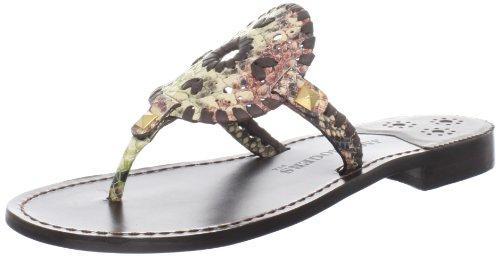 Jack Rogers Women's Georgica Python Thong Sandal,Multi Python,7 M US (Sandals Python Thong)
