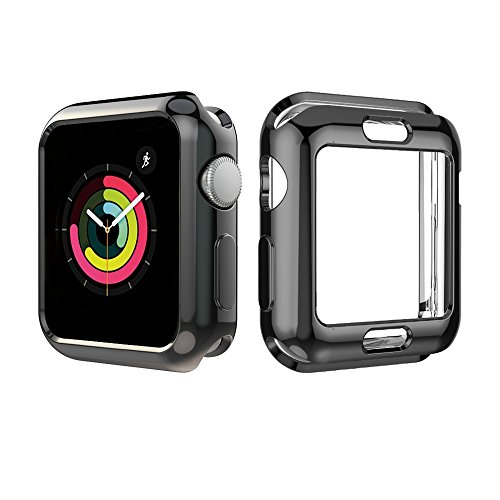 [2-Pack] UBOLE Case for Apple Watch Screen Protector 44mm, One Soft TPU All-Around Black Cover and One Protective Bumper iWatch Case Both for Apple ...