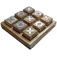 "Shriji Crafts Wooden Tic Tac Toe Tak/Pedagogical Board/IQ Brain Teaser/Noughts and Crosses Games for Kids, Size - 4.5"" x…"