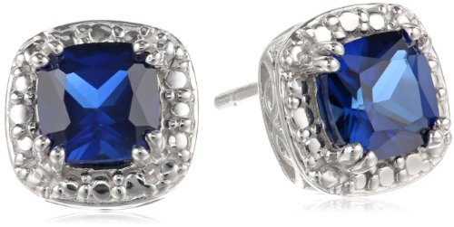 Sterling-Silver-Created-Blue-Sapphire-Cushion-Cut-Stud-Earrings