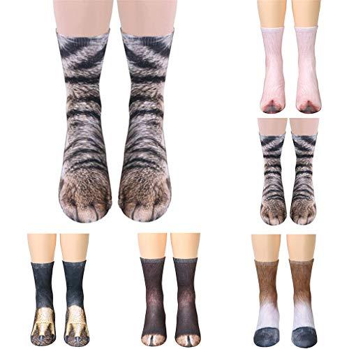 SANGQU 6-12 Years Five Pairs Kids Animal Paw Crew Socks 3D Print Mid Tube -