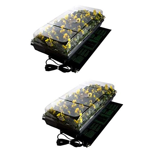 (2) HYDROFARM CK64050 Germination Stations w/ Heat Mat, Tray, Cell Insert & Dome