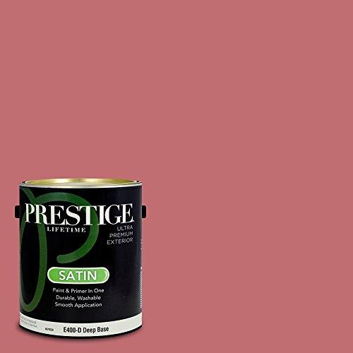 Prestige Paints E400-D-2001-3BVP Exterior Paint and Primer in One, 1-Gallon, Satin, Comparable Match of Valspar Cliveden Colonial Rose, 1 Gallon,