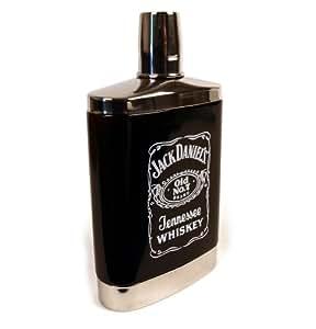 Jack Daniels 7oz Black Glass Hip Flask