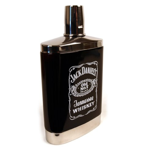 Glass Hip Flask (Jack Daniels 7oz Black Glass Hip Flask)