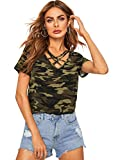 Verdusa Women's Criss Cross V Neck Camo Print Top Tee Shirts