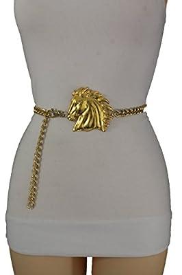 TFJ Women Fashion Belt Metal Chains Hip Waist Cowboys Horse Plus M L XL Gold