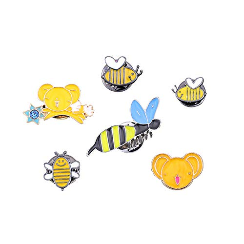 Acccity Brooch Pins Alloy Drop Oil Cute Badge Jewelry Pins for Bag Jeans Hat for Women Girls (Yellow) ()