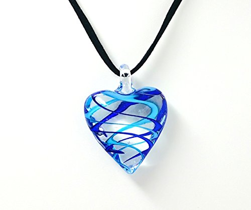 Fused Stained Glass Necklace - Light and Navy Blue Swirled Heart ()