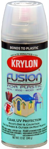 Krylon K02444007 'Fusion for Plastic' Clear Plastic Paint - 12 oz. Aerosol (Clear Aerosol Coat)