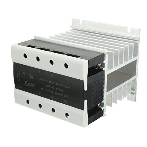 (uxcell AC to AC 10A 90-250VAC to 40-440VAC SSR Thermal Compound 3 Phase Solid State Relay + Heat Sink UL Recognized )