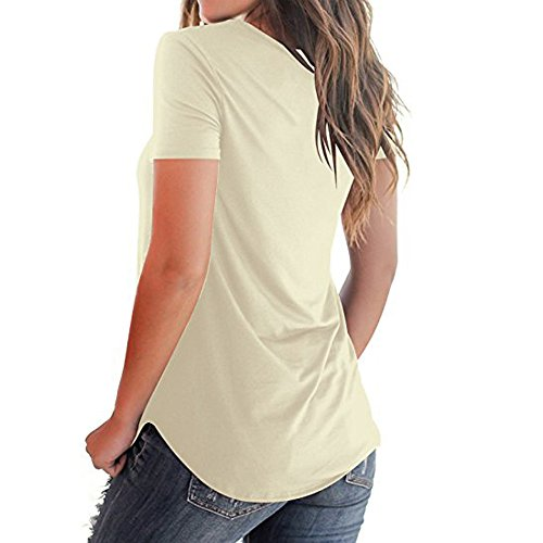TnaIolral Women T-Shirt Short Sleeved Solid Criss Cross Front V-Neck Tops Khaki