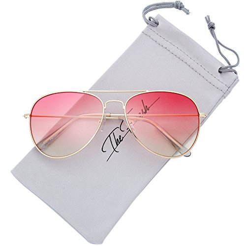 The Fresh Classic Large Metal Frame Oceanic Color Lens Aviator Sunglasses with Gift Box (Gold, Pink/Yellow)