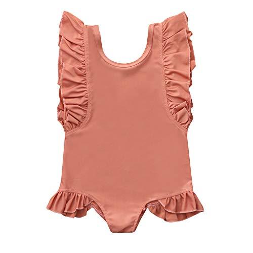 - iZHH Kids Baby Girl Swimsuit,Summer Solid Color Ruffles Swimwear One Piece Swimsuit Pool Beachwear (Pink,3-4Years)