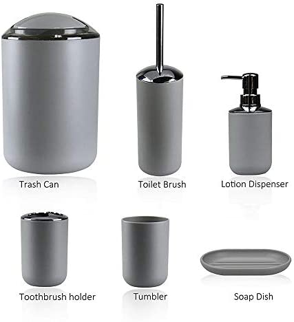 IMAVO Bathroom Accessories Set,6 Pcs Plastic Gift Set Toothbrush Holder,Toothbrush Cup,Soap Dispenser,Soap Dish,Toilet Brush Holder,Trash Can,Tumbler Straw Set Bathroom (Grey) 41xtug9qofL