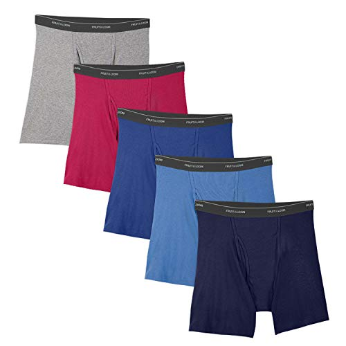 Fruit of the Loom Men's No Ride Up Boxer Brief, Assorted (5-Pack) Small
