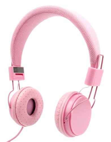 Price comparison product image Ultra-Stylish Kids Headphones with Microphone in Pink - Compatible with Leapfrog LeapPad, Explorer, Platinum, Epic, Leapster Tablets - by DURAGADGET