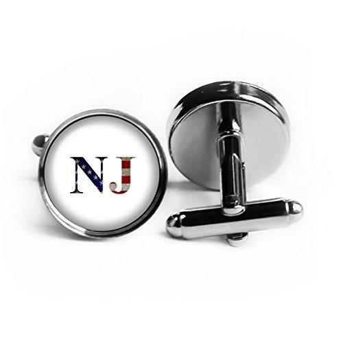 United States State Initials Flag New Jersey NJ Rhodium Plated Silver (New Rhodium Cufflinks Cufflink)