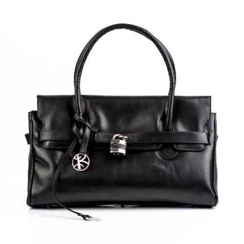 BACCINI bolso de mano PARIS: cartera con asas cortas para mujer GRANDE - estilo tote-bag de cuero negro - con padlock-candado (42 x 28 x 12cm)