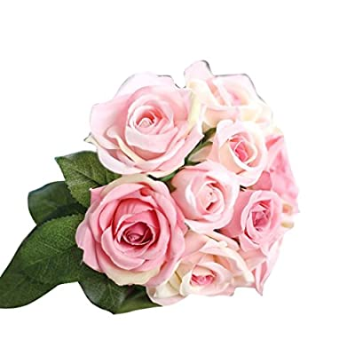 Clearance! Paymenow 9 Heads Artificial Silk Fake Flowers Leaf Rose Wedding Floral Decor Bouquet Party Office Garden Home Decor