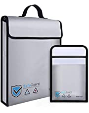 """Vemingo Fireproof Bag 2000 ℉ Water Resistant Document Holder 15.8"""" x 12.6"""" x 3"""" Non-Itchy Silicone Coated Fireproof Safe Storage for Money, Documents, Jewelry, Passport and Laptop (2pcGrey)"""
