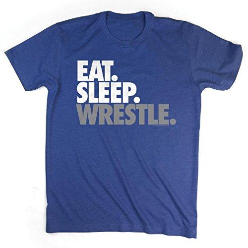Eat Sleep Wrestle T-Shirt   Wrestling Tees by ChalkTalk SPORTS   Royal   Youth Medium