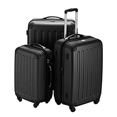 HAUPTSTADTKOFFER - Spree - Set of 3 Hard-side Luggages Glossy Suitcase Hardside Spinner Trolley Expandable (20¡°, 24¡° & 28¡°) TSA Black