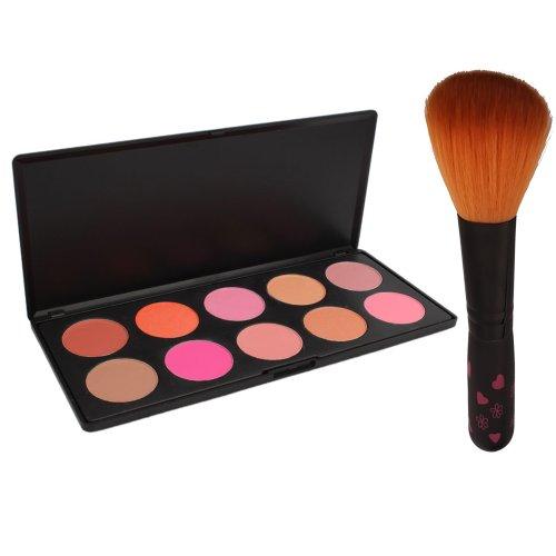 Professional 10 couleurs de maquillage cosmétiques rougissent Contour palette de poudre + Blush Pinceau Poudre