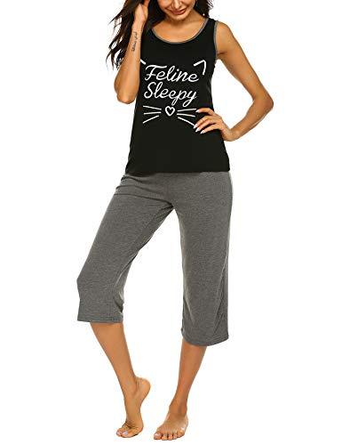 Ekouaer Pajamas Set Sleeveless Sleepwear Womens Tank and Shorts Nightwear Soft Pj Lounge Sets, Black, - Lounge Tank Sets