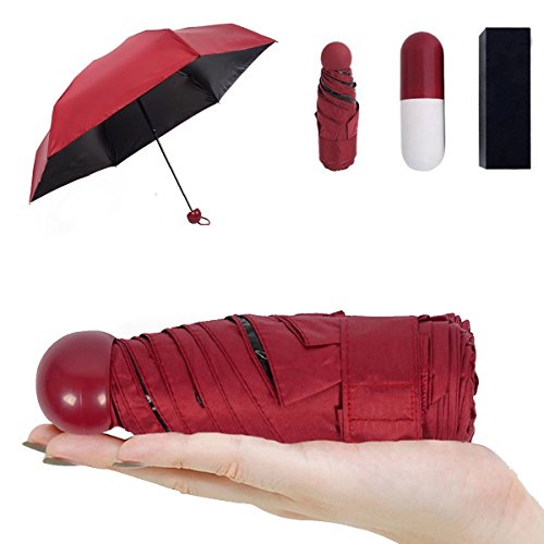 Price comparison product image Ultra Lights and Small Mini Folding Umbrella with Cute Capsule Case Waterproof Ultra Protective ( 95% UV Resistance )-Red
