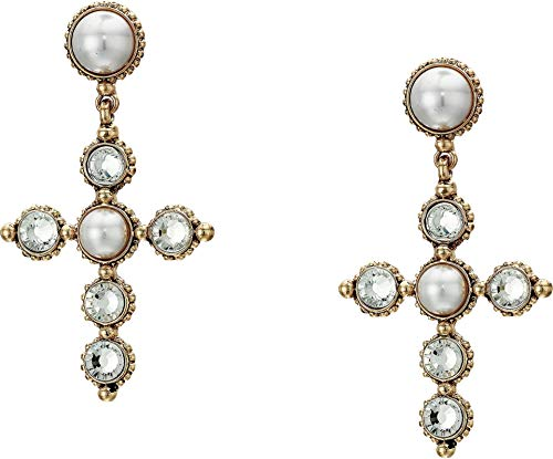 - Steve Madden Women's White Simulated Pearl and Rhinestone Large Cross Yellow Gold-Tone Drop Post Earrings, One Size
