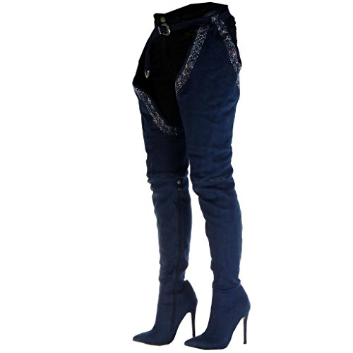 Women's Denim 5 Buckle Boot high Angkorly Stiletto Rhinestone Thigh Blue Stiletto Boots Heel Jeans Sexy cm 12 Shoes Fashion FRadqH