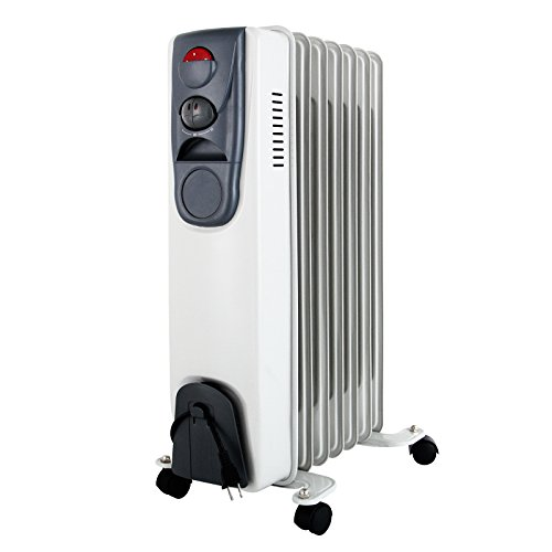 KUPPET YA400200 Space Heater Electric Oil Filled Radiator Radiant Heater ,Portable Home Room Office Radiant Heat 6-Fin,Adjustable Thermostat 1500W,3 Power Settings,Black/Gray by KUPPET
