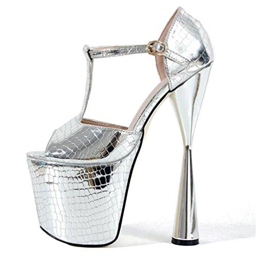 XIE soirée de Pompes Plate 41 Des Mariage sandales forme à Talon pied Chaussures 35 et aiguille club Taille pour Doigt Ouvrir Fête EU35 femmes SILVER pqApw7r