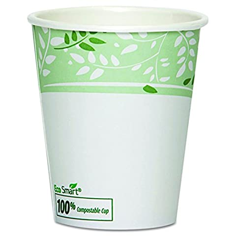 Dixie 2340SPLA EcoSmart PLA Paper Hot Cup, 10 oz Squat (20 Sleeves of 50) - 10 Ounce Styrofoam Cups