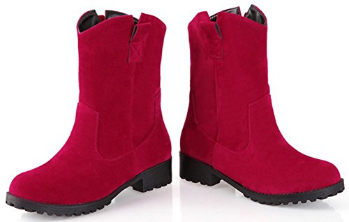 Women's Elegant Suede Round Pull Ankle Easemax High Low Toe Boots Chunky Red Faux On Heeled dBwxFS5