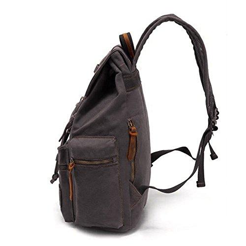 Backpack Canvas Grey Augur Backpack Men Leather Series for Backpack P Vintage Casual Women VDSL Daypacks Canvas KU A Laptop Rucksack rrqSdw1