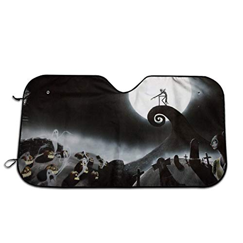 Hguftu5du The Nightmare Before Christmas Universal Windshield Sunshade 27.5x51 Inch Car Sun Visor Seat Sunscreen