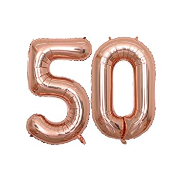 BALONAR 40 Inch Jumbo 50th Rose Gold Foil Balloons For Birthday Party SuppliesAnniversary Events