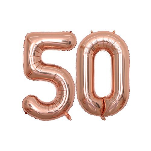 BALONAR 40 inch Jumbo 50th Rose Gold Foil Balloons for Birthday Party Supplies,Anniversary Events Decorations and Graduation Decorations (ROSE50)