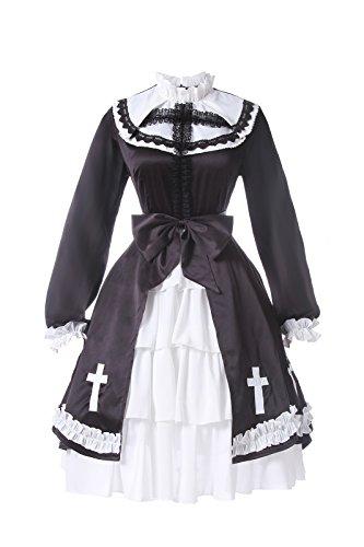 Lemail Womens Nun Gothic Dress Halloween Lolita Dress Nun Costume Black (Medieval Nun Costume)