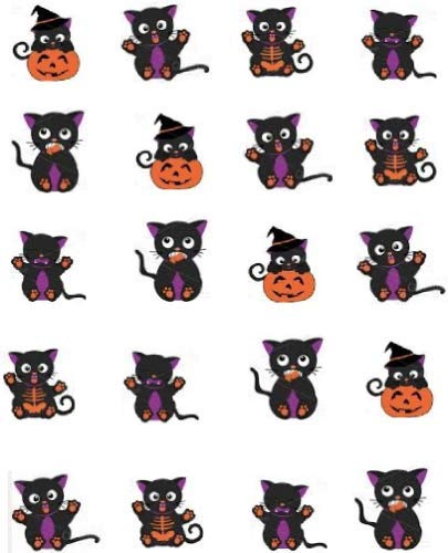 Black Cats Halloween Waterslide Nail Decals/Nail