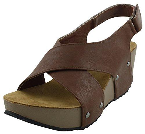 Cambridge Select Women's Open Toe Studded Crisscross Strappy Slingback Platform Wedge Sandal (6 B(M) US, (Criss Cross Slingback Sandals)